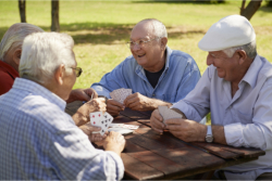 group of old man playing cards in yard